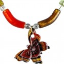 Brown Murano Glass Curve Tube and Butterfly Necklace