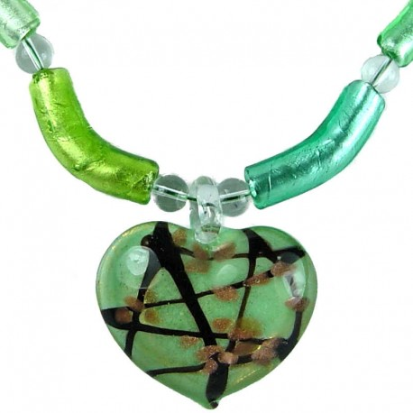 Costume Bead Jewellery, Fashion Green Murano Glass Curve Tube and Heart Necklace