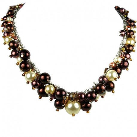 Statement Costume Jewellery, Brown Illusion Fashion Pearl Cluster Necklace