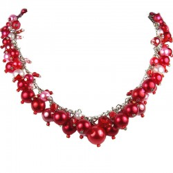 Statement Costume Jewellery, Red Illusion Fashion Pearl Cluster Necklace