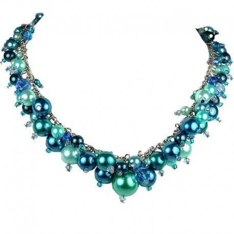 Statement Costume Jewellery, Blue Illusion Fashion Pearl Cluster Necklace