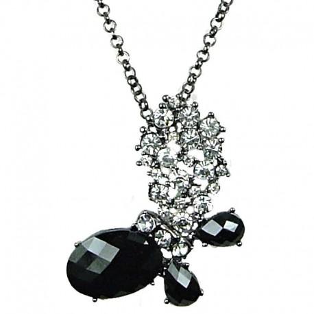 Women Gift, Fashion Jewellery, Black Rhinestone Butterfly Pendant Costume Long Necklace