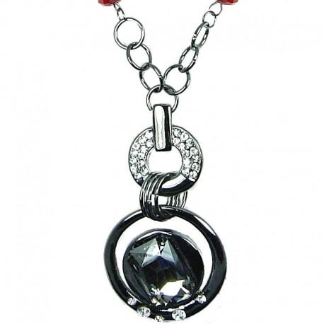 Women Costume Jewellery, Smokey Grey Octagon Rhinestone Double Circle Fashion Long Necklace