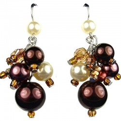 Chic Costume Jewellery, Brown Illusion Fashion Pearl Cluster Dangle Earrings