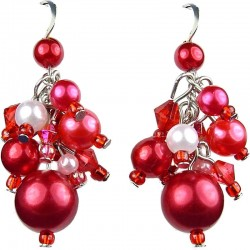 Red Illusion Pearl Cluster Dangle Earrings