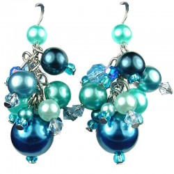 Chic Costume Jewellery, Blue Illusion Fashion Pearl Cluster Dangle Earrings