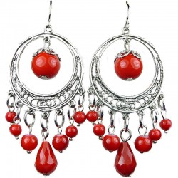 Red Jasper Natural Stone Bead Chandelier Silver Circle Tibetan Ethnic Drop Earrings