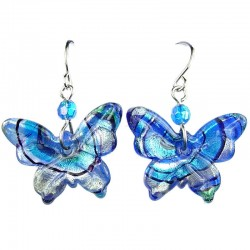 Blue Dichroic Fused Glass Butterfly Drop Earrings