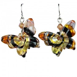 Women Costume Bead Jewellery, Girls Gift, Fashion Brown Dichroic Fused Glass Butterfly Drop Earrings