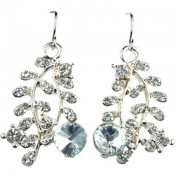 Women's Costume Jewellery, Clear Diamante Willow Leaf Champagne Gold Fashion Drop Earrings