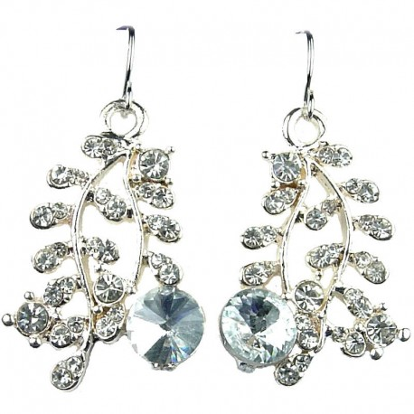 Costume Jewellery Fashion Clear Diamante Gold Tone Leaf Drop Earrings