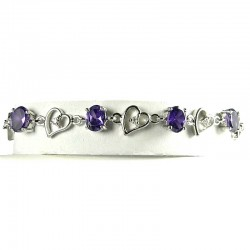 Purple Oval Diamante Silver Open Heart Link Tennis Bracelet
