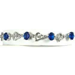 Royal Blue Oval Diamante Silver Open Heart Link Tennis Bracelet