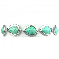 Turquoise Pear Teardrop Shaped Natural Stone Link Bracelet