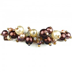 Fashion Statement Costume Jewellery, Brown Illusion Pearl Charm Cluster Dangle Bracelet
