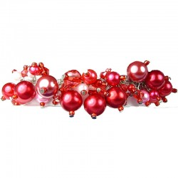 Fashion Statement Costume Jewellery, Red Illusion Pearl Charm Cluster Dangle Bracelet
