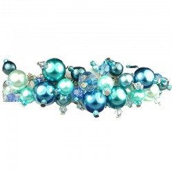 Fashion Statement Costume Jewellery, Blue Illusion Pearl Charm Cluster Dangle Bracelet