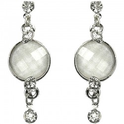 Women's Gift, Fashion Costume Jewellery, Bib White Rhinestone Circle Drop Costume Earrings