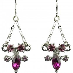 Purple Teardrop Diamante Dressy Drop Earrings