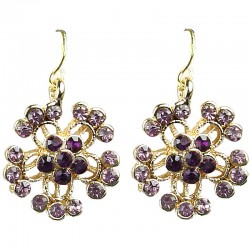 Women's Costume Jewellery, BibPurple Diamante Gold Tone Flower Fashion Drop Earrings