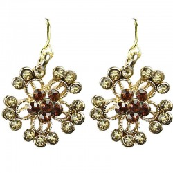 Women's Costume Jewellery, Bib Brown Diamante Gold Tone Flower Fashion Drop Earrings