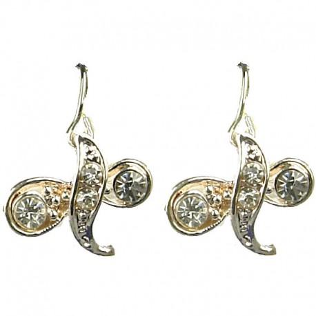 Women Fashion Jewellery, Clear Diamante Twist Champagne Gold Dainty Drop Earrings
