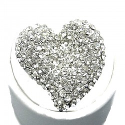 Big Bold Fashion Jewellery, Clear Diamante Large Heart Statement Costume Ring