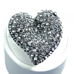 Big Bold Fashion Jewellery, Grey Diamante Large Heart Costume Statement Ring