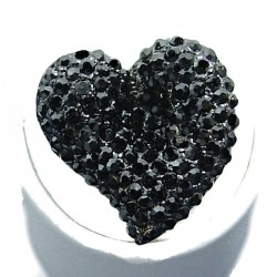 Big Bold Fashion Jewellery, Jet Black Diamante Large Heart Statement Costume Ring
