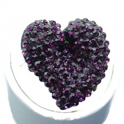 Big Bold Fashion Jewellery, Purple Diamante Large Heart Costume Statement Ring