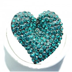 Big Bold Fashion Jewellery, Aqua Blue Diamante Large Heart Costume Statement Ring