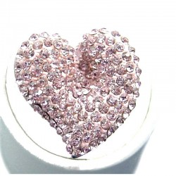 Pink Diamante Large Heart Statement Ring