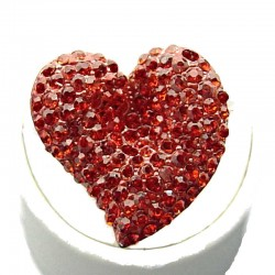 Red Diamante Large Heart Statement Ring