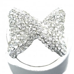 Clear Diamante Large Bow Fashion Ring