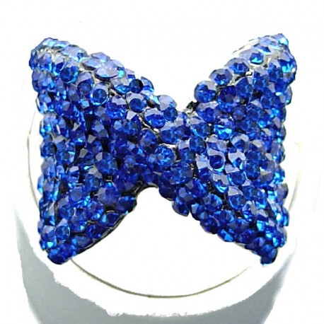 Large Bold Big Statement Costume Jewellery, Royal Blue Diamante Large Bow Fashion Ring