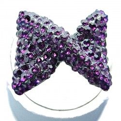 Large Big Bold Statement Costume Jewellery, Purple Diamante Large Bow Fashion Ring