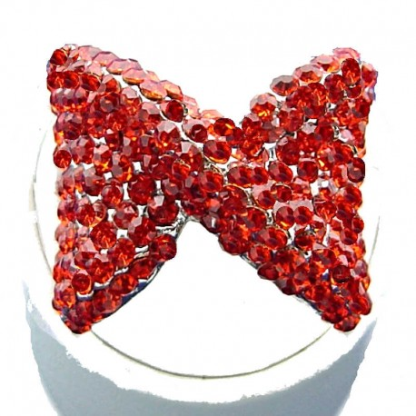 Large Bold Big Statement Costume Jewellery, Red Diamante Large Bow Fashion Ring