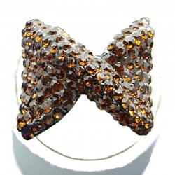 Large Bold Statement Costume Jewellery, Brown Diamante Large Bow Fashion Ring