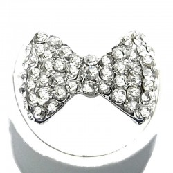 Cute Costume Jewellery, Clear Diamante Pave Bow Tie Fashion Ring