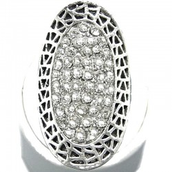 Large Bold Statement Costume Jewellery, Clear Diamante Pave Long Halo Oval Fashion Ring