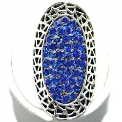 Large Big Bold Statement Fashion Jewellery, Royal Blue Diamante Pave Costume Long Halo Oval Ring