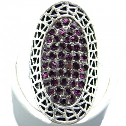Bold Large Statement Costume Jewellery, Purple Diamante Pave Fashion Long Halo Oval Ring