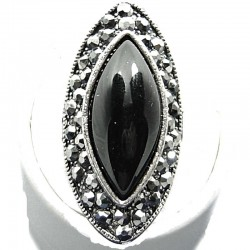 Bold Big Statement Costume Jewellery, Black Large Onyx Teardrop Cabochon Marcasite Fashion Cocktail Ring