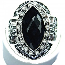 Bold Big Statement Costume Jewellery, Black Large Teardrop Rhinestone Clear Diamante Art Deco Fashion Cocktail Ring