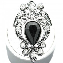 Black Teardrop Rhinestone Clear Diamante Victorian Cocktail Ring