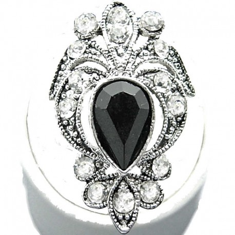 Large Big Bold Statement Fashion Jewellery, Black Teardrop Rhinestone Clear Diamante Victorian Costume Cocktail Ring