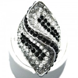 Large Big Bold Costume Jewellery, Black Grey Clear Diamante Twist Wave Chunky Fashion Statement Ring