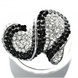 Black Clear Diamante Twist Crescent Chunky Statement Ring