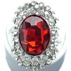 Large Bold Statement Fashion Jewellery, Red Oval Rhinestone Clear Diamante Costume Cocktail Ring