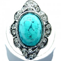 Large Bold Statement Fashion Jewellery, Turquoise Oval Natural Stone Cabochon Clear Diamante Costume Cocktail Ring